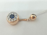 Серебряная серьга для пирсинга пупка. Артикул ПР3ФС/019