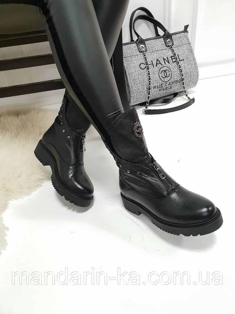 Женские ботинки черные  натуральная  кожа