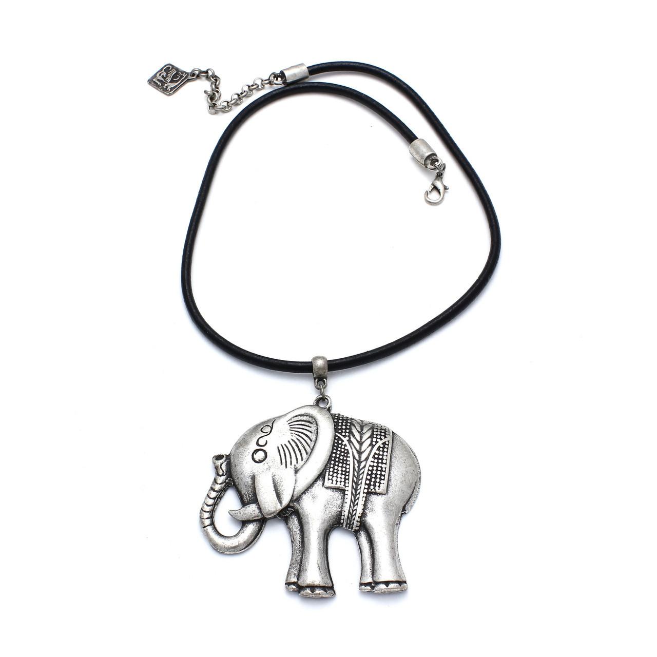 Колье Веселый слоник (натуральная кожа)