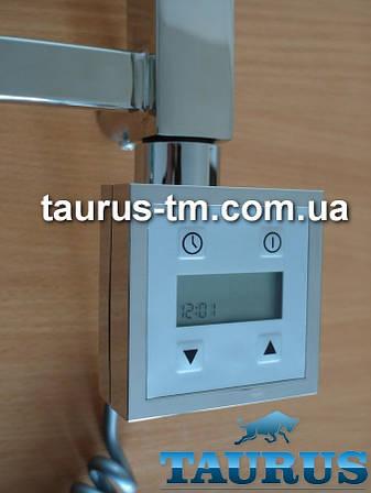 Квадратный электроТЭН KTX3 с экраном + регулятор + таймер (Польша) хром, для полотенцесушителя TAURUS