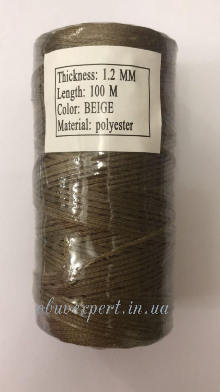 Нитка вощёная по коже (плоский шнур), т. 1,2 мм, 100 м, цв. бежевый