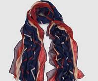 Женский шарф весна/осень с геометрическим узором синий, фото 1