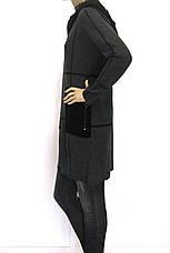 Жіноче пальто кардиган з капюшоном щільної вязки , фото 3