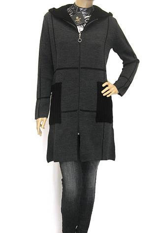 Жіноче пальто кардиган з капюшоном щільної вязки , фото 2