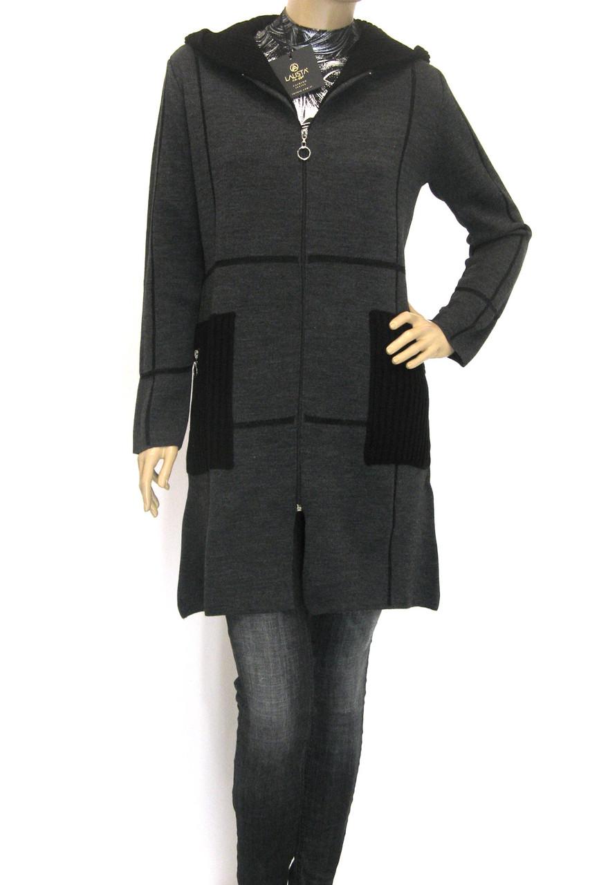 Жіноче пальто кардиган з капюшоном щільної вязки