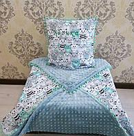 """Плюшевый плед с подушкой для малыша """"Котики""""."""