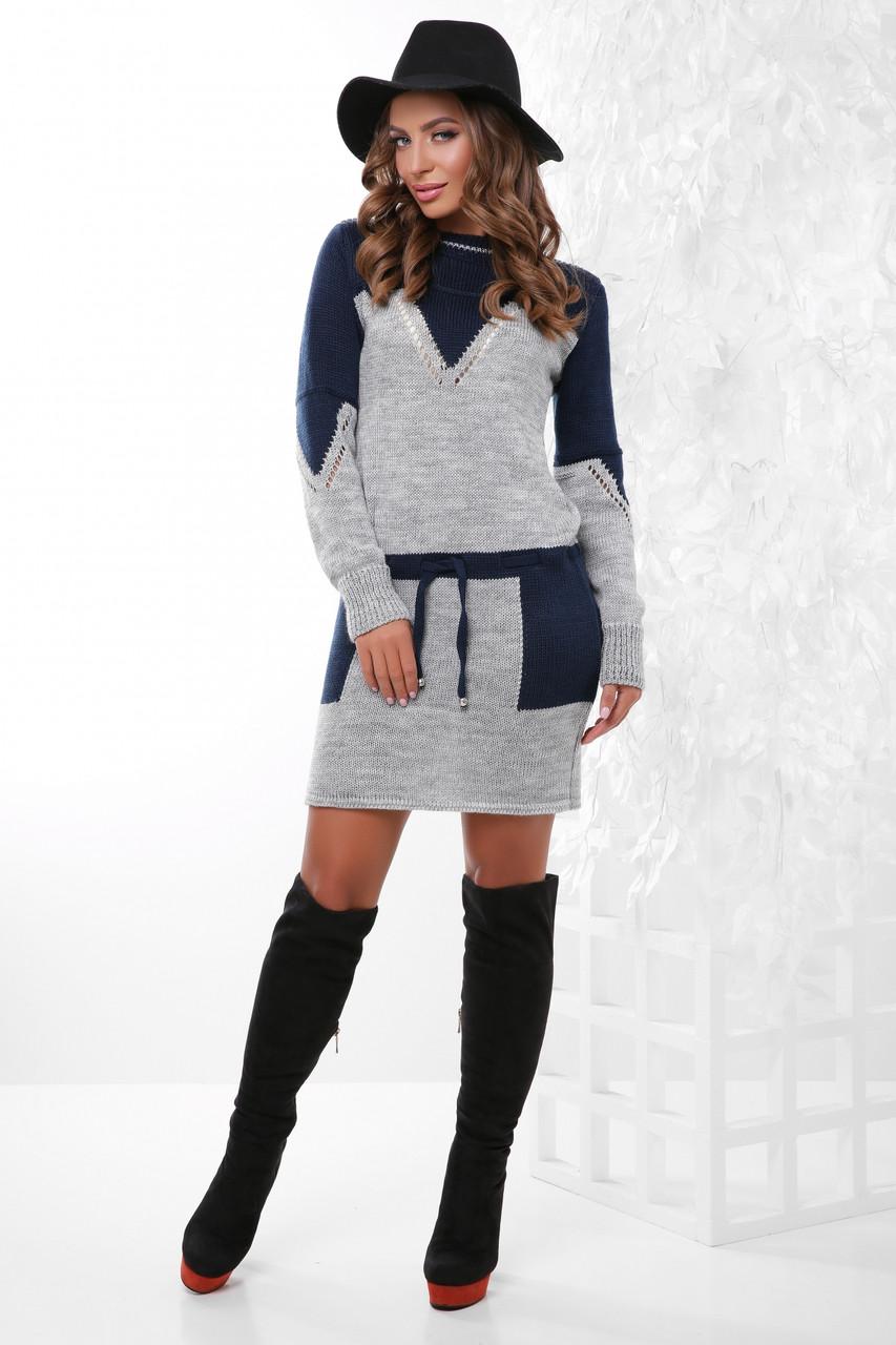 Жіноча в'язана коротке плаття, розмір 44-48
