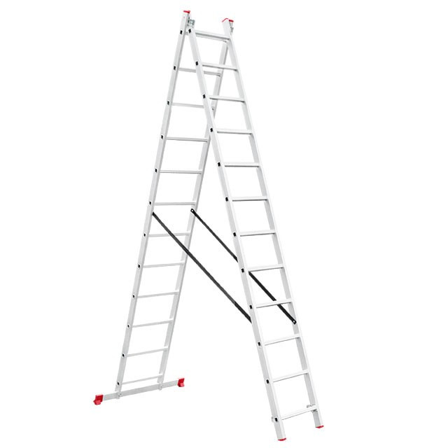 Лестница алюминиевая 2-х секционная универсальная раскладная 2x12 ступ. 5,93 м INTERTOOL LT-0212