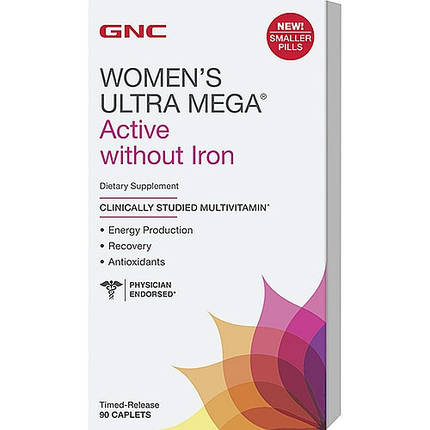 Вітаміни GNC Women's Ultra Mega Without Iron 90 caps, фото 2
