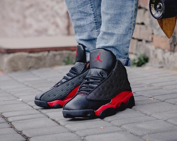 Мужские осенние кроссовки Nike Air Jordan Black Cat Red топ реплика