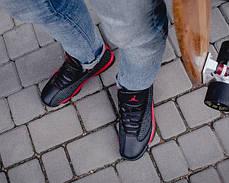 Мужские осенние кроссовки Nike Air Jordan Black Cat Red топ реплика, фото 3