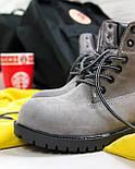 Зимние женские ботинки T1mberland 6 inch gray black (Реплика ААА+), фото 2