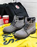 Зимние женские ботинки T1mberland 6 inch gray black (Реплика ААА+), фото 4