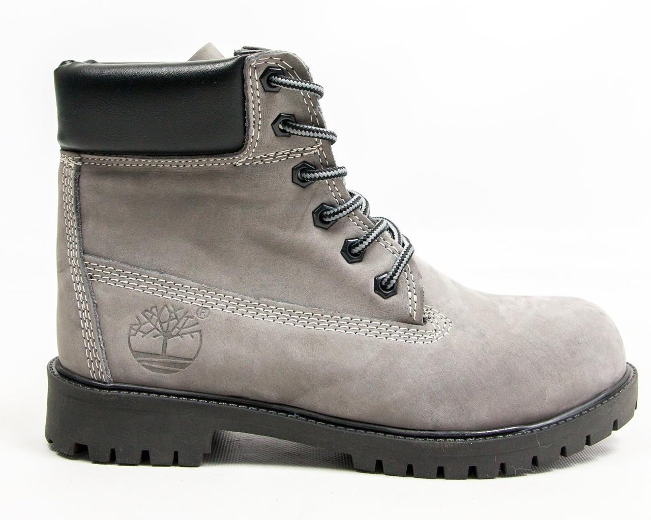 Зимние женские ботинки T1mberland 6 inch gray black (Реплика ААА+)