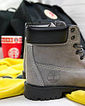 Зимние женские ботинки T1mberland 6 inch gray black (Реплика ААА+), фото 6