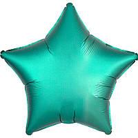 Фольгированный шар звезда сатин изумрудная 45 см (Anagram)