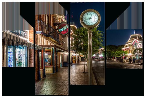 Модульная картина Улица. Часы  Натуральный холст, 106х71