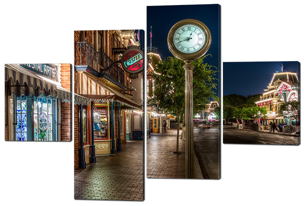 Модульная картина Улица. Часы  Натуральный холст, 166х114