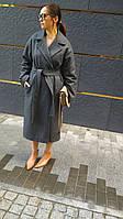Женское пальто утепленное из шерсти серое, пальто двубортное на поясе. Жіноче пальто утеплене з поясом сіре., фото 1