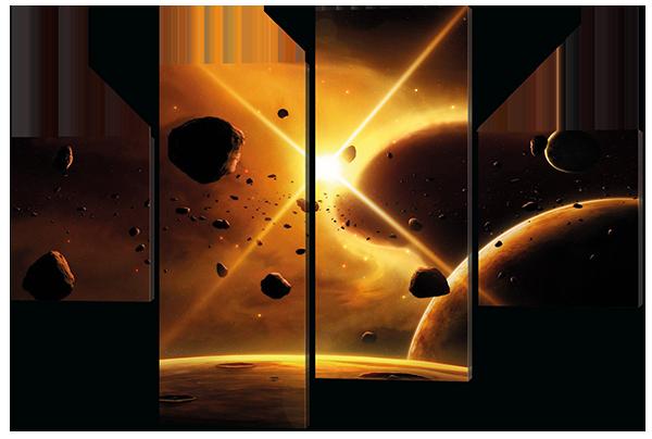 Модульная картина Космос, кометы Искусственная кожа, 146х100