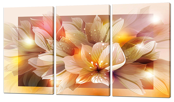 Модульная картина Цветы  Искусственный холст, 144x82