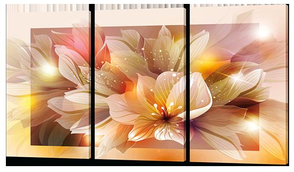 Модульная картина Цветы  Натуральный холст, 124x70