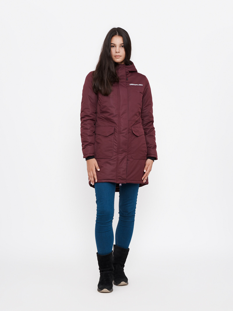 Зимняя куртка парка женская AW8 BEET Urban Planet бордо (женская куртк