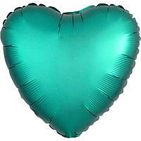Фольгированный шар сердце сатин изумрудное 45 см (Anagram)