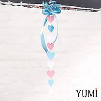 Цифра 2 серебро с гирляндой розовые, голубые и белые сердечки, фото 2
