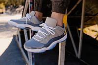 Мужские кроссовки Nke Air Jordan 11 Retro Grey Low серые