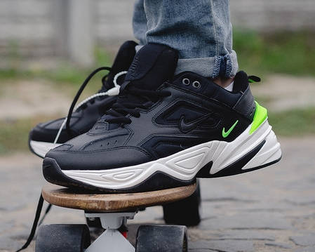 ab9de583404d58 Мужские осенние кроссовки Nike M2K Tekno Black/Green топ реплика, фото 2