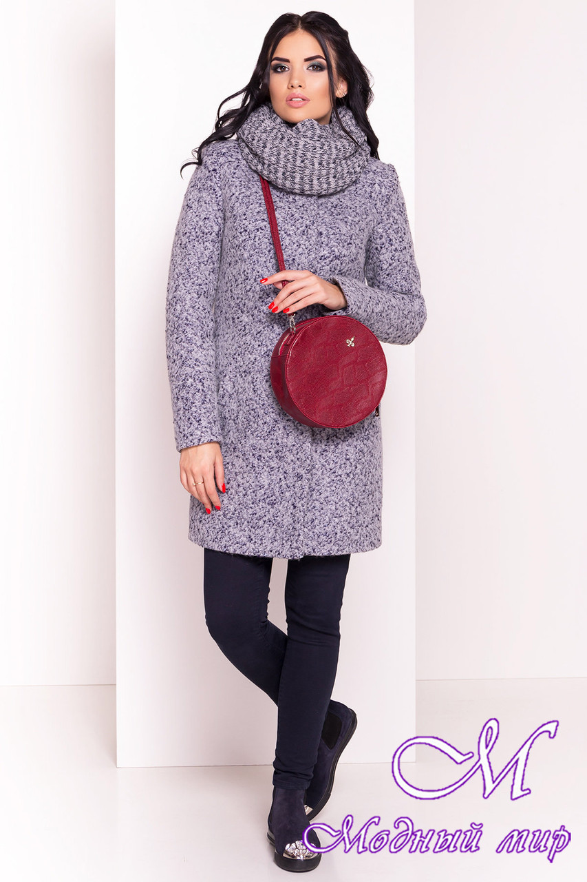 Теплое женское серое зимнее пальто с хомутом р. S, M, L арт. Фортуна лайт букле  0574 - 19145