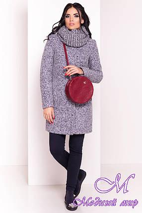 Теплое женское серое зимнее пальто с хомутом р. S, M, L арт. Фортуна лайт букле  0574 - 19145, фото 2