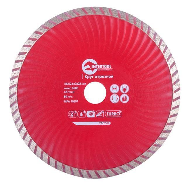 Диск отрезной Turbo, алмазный 180 мм, 22-24 INTERTOOL CT-2009
