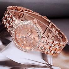 Часы женские Geneva сталь в стразах ремешок - Розовое золото