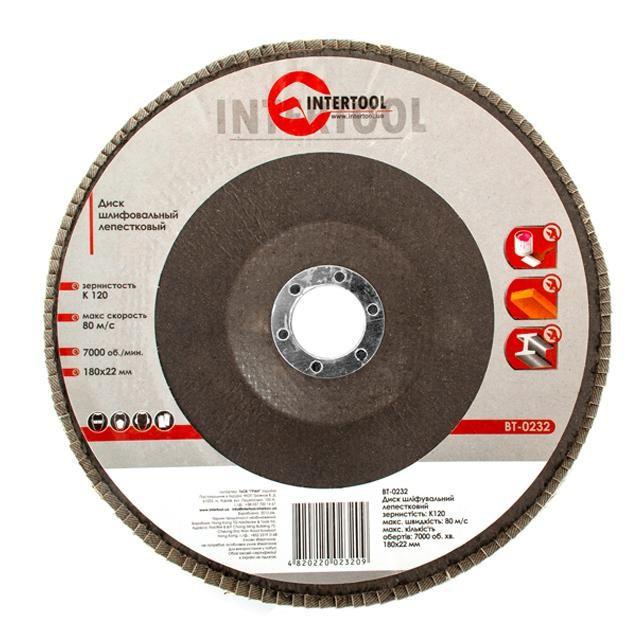 Диск шлифовальный лепестковый 180x22 мм, зерно K120 INTERTOOL BT-0232