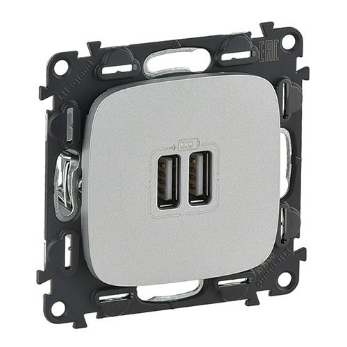 Розетка USB для зарядки Valena ALLURE алюминий