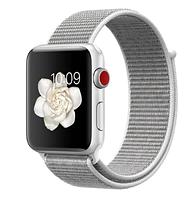 Ремешок нейлоновый, Apple Watch 38/40 mm Sport Loop, Seashell, Сейшелы, светло-серый, белый