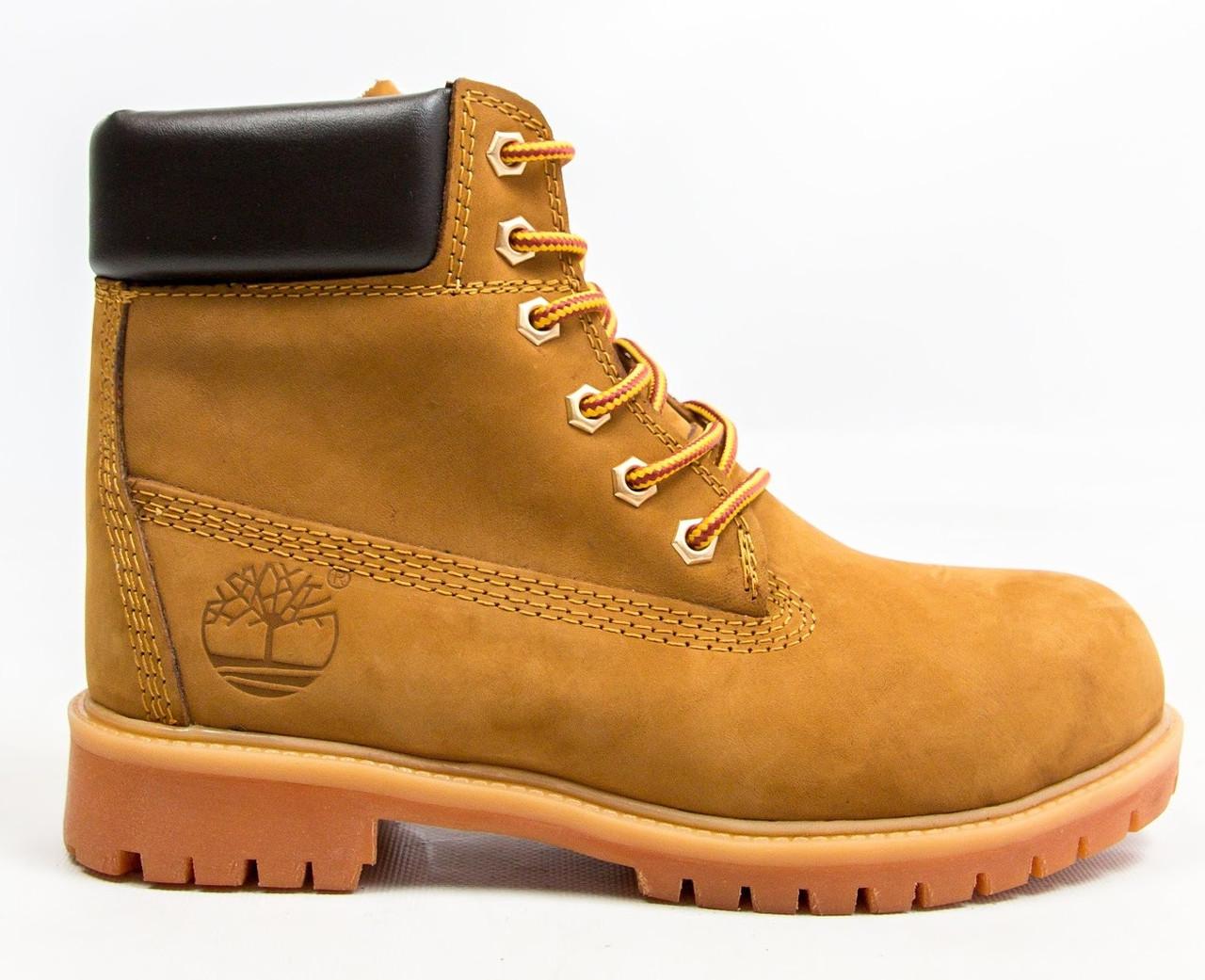 Зимние мужские ботинки Timberland classic 6 inch yellow без меха (Реплика ААА+)