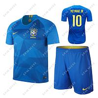 Детская футбольная форма Сборной Бразилии ЧМ 2018, Неймар №10. Гостевая