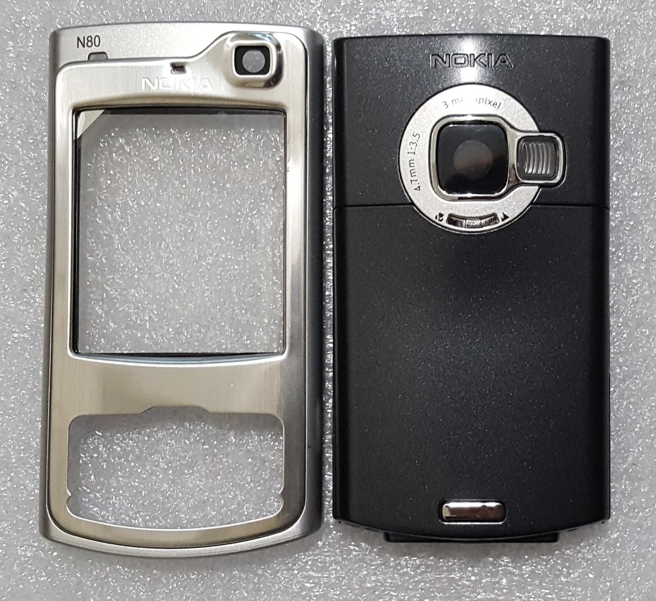 Корпус для Nokia N80 black-silver