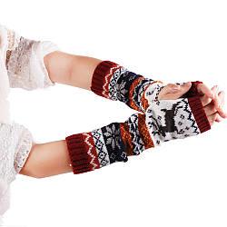 Перчатки (митенки) вязаные длинные