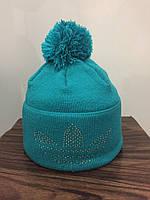 Подростковая шапка с помпоном для девочки на флисе
