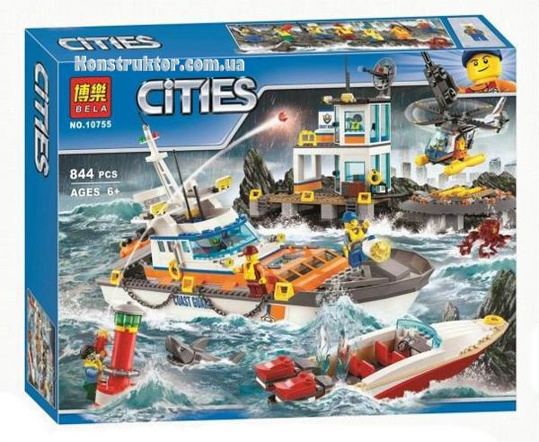 """Конструктор Bela 10755 """"Штаб береговой охраны"""" Сити, 844 деталей. Аналог LEGO City 60167"""