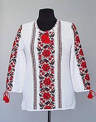 Блуза вышиванка с красными розами до 66 размера