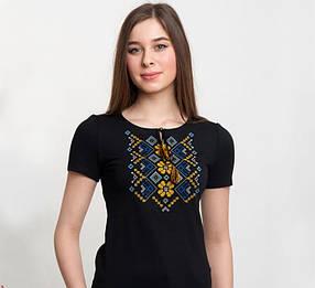 Женская вышиванка / Орнамент синьо-жовтий / цвет черный короткий рукав до 56 размера