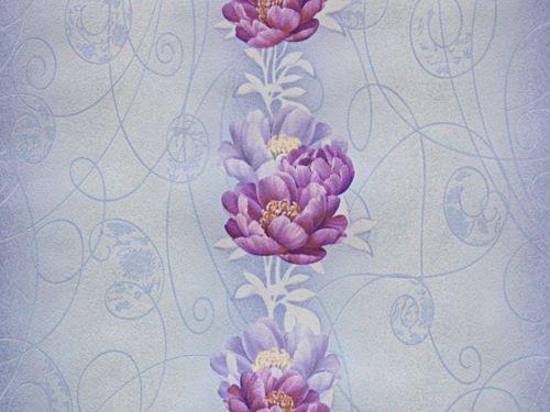 Обои на стену, голубой, цветы, светлые,  бумажные, 6434-03, 0.53*10м