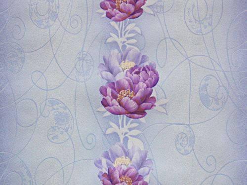 Обои на стену, голубой, цветы, светлые,  бумажные, 6434-03, 0.53*10м, фото 2