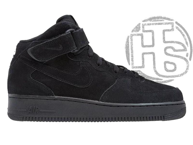 Мужские кроссовки Nike Air Force 1 Mid Suede Triple Black (с мехом) 315123-036