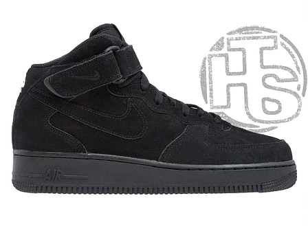 Мужские кроссовки Nike Air Force 1 Mid Suede Triple Black (с мехом) 315123-036, фото 2
